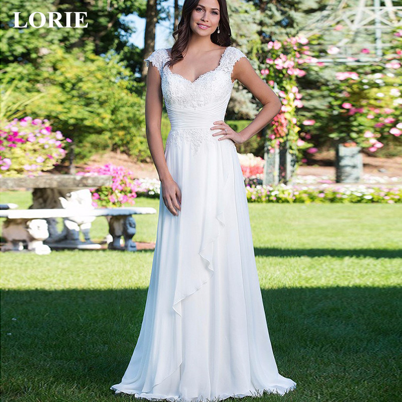 LORIE 2019 New Chiffon A-Line Long Wedding Dresses Robe De Marriage Bridal Gowns Sleeveless Backless Simple Wedding dresses