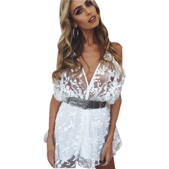 59230139edd White Jumpsuit Womens Sexy Lace Bodysuit Playsuit Ladies Plunge Holiday  Short Jumpsuit Ropa Mujer Verano Dropshipping 30AT15