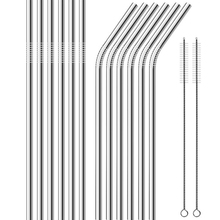 Pajitas de Metal reutilizables 304 acero inoxidable resistente rectas curvadas paja para bebidas con cepillo de limpieza Bar accesorio de fiesta