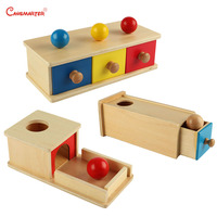 Montessori Toys Baby Educational Sensory Wooden Infant Object Box With Drawer Math Teaching Game Montessori Materials LT001 45
