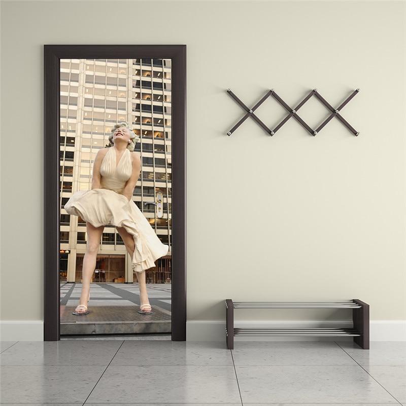 Funlife Marilyn Monroe Wall Poster PVC Waterproof DIY Wall Art Imitation 3D  Door Sticker Creative Home Decor Wall Sticker