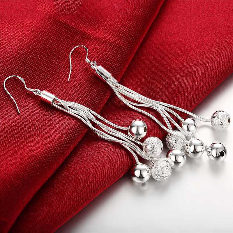 เครื่องประดับคุณภาพสูง 925 Silver สีสามสายลูกปัดต่างหูผู้หญิงที่ดีที่สุดของขวัญ
