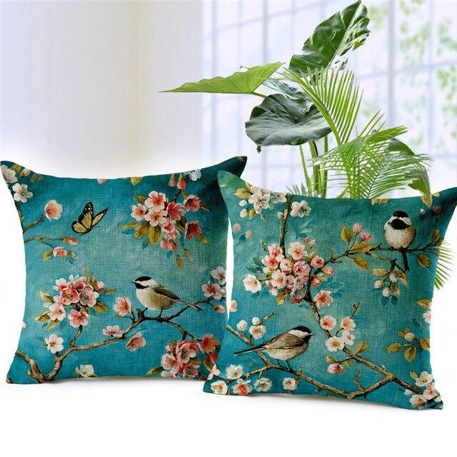 Fiori e uccelli paesaggio fodere per Cuscini Decorativi Cassa del Cuscino Per Di