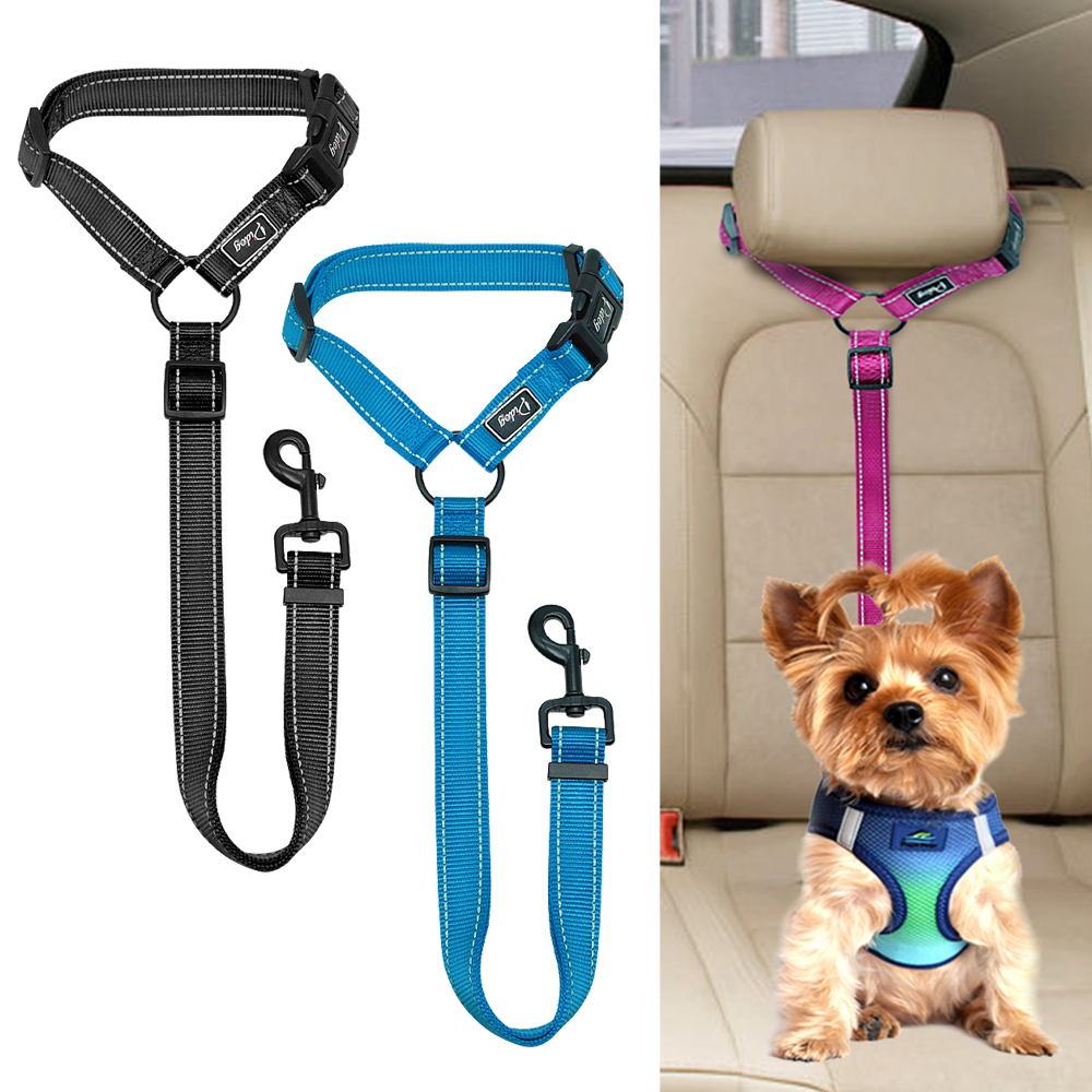 Dog Car Seat Belt Reflective Nylon Dogs Cat Safety Seat Belt Strap Car Headrest Restraint Safety Leads Vehicle Seatbelt Harness