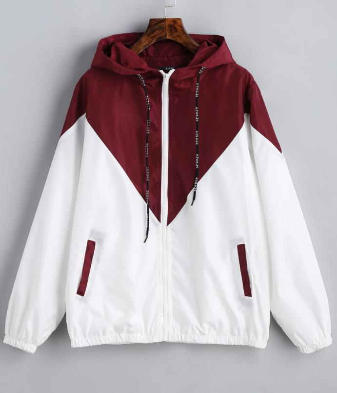 Women   Basic     Jackets   Female Zipper Pockets Casual Long Sleeves Coats Autumn Hooded Patchwork   Jacket   Two Tone Windbreaker   Jacket