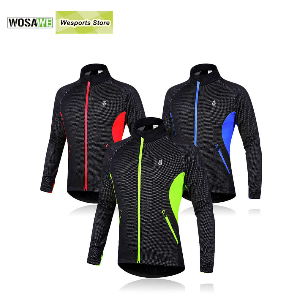 WOSAWE Men Fleece Thermal Winter Wind Cycling Jacket Windproof Bike Bicycle Coat Clothing Long Sleeve Cycling Jerseys  wosawe outdoor sports windproof winter long sleeve cycling jacket unisex fleece thermal mtb riding bike jersey men s coat