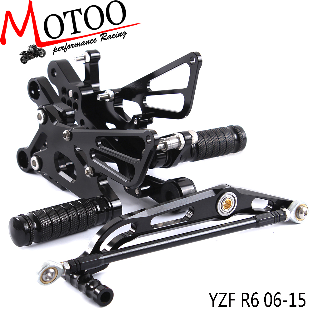 Motoo Full CNC aluminum Motorcycle Rearset Rear Set For YAMAHA YZF R6 R6 2006 2015