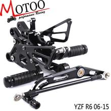 מלא CNC אלומיניום הדום אופנוע footpeg דוושת רגל פג Rearset אחורי להגדיר עבור ימאהה YZF R6 R6 2006 2015