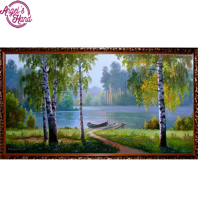 Full Square Drill 5D DIY Diamond Painting boat birch forest 3D Embroidery Cross Stitch Mosaic Rhinestone Home Decor gift ...