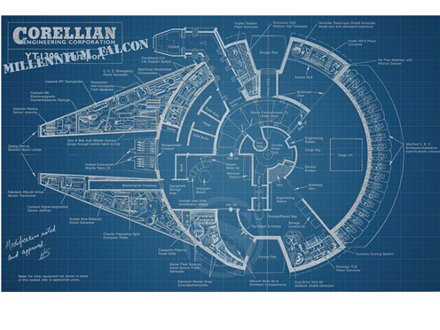 Custom poster millennium falcon schematics Print 50x75cm room ... on