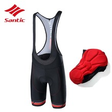 Santic Men Cycling Padded Bib Shorts Pro Fit Breathable Italian MITI TAVALOR Fabric Reflective Triathlon