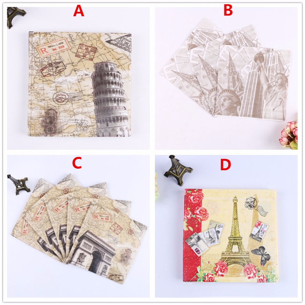 Free Shipping 20pcs Lot 2 Layer Newest Printed Napkins Festival Decoupage Wedding Party Table