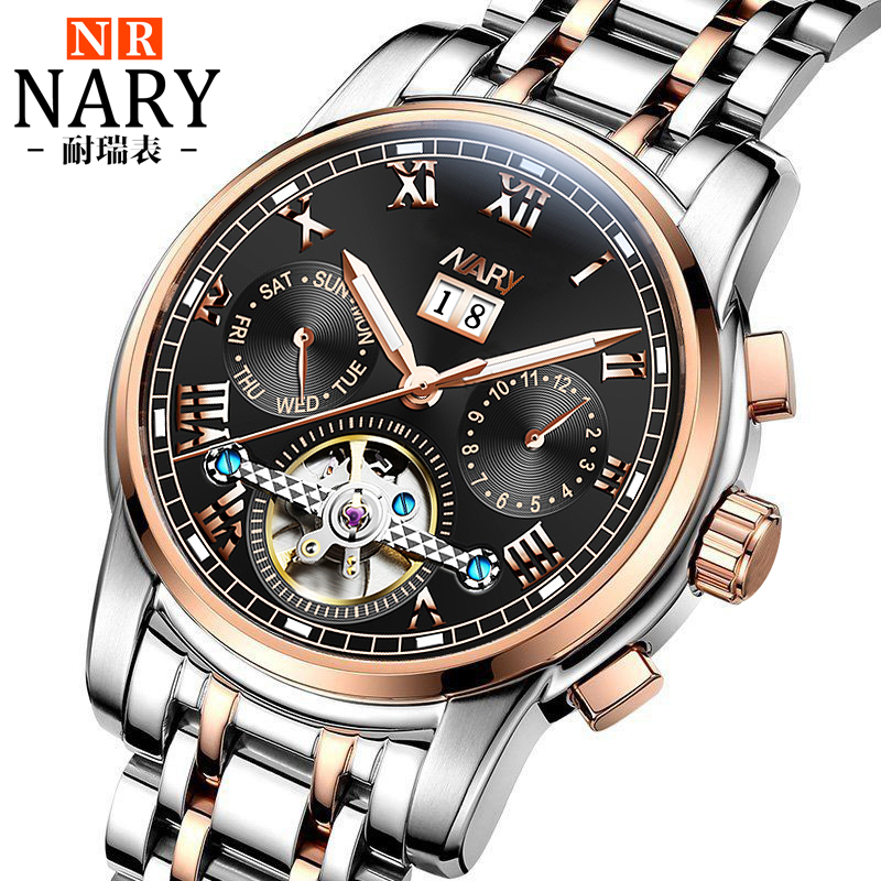 Automatic Tourbillon Men Mechanical Watch Sport Clock NARY Brand Luxury Stainless Steel Mens Business Wrist Watches relojes fashion fngeen brand simple gridding texture dial automatic mechanical men business wrist watch calender display clock 6608g