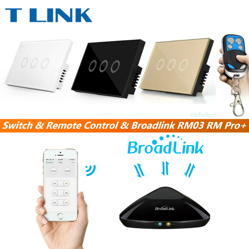 TLINK Broadlink US Standard 3 gang 1 way Wall Finger Touch Switch Crystal Glass Panel Wireless remote controller 2017 smart home us au standard wireless remote control touch light switch wall switch 3 gang black crystal glass panel with led