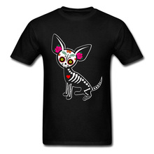 Hairless Chihuahua Muerta Skeleton Dog Tshirt Black The Day of the Dead Punisher Easter Funny T Shirt For Men Skull
