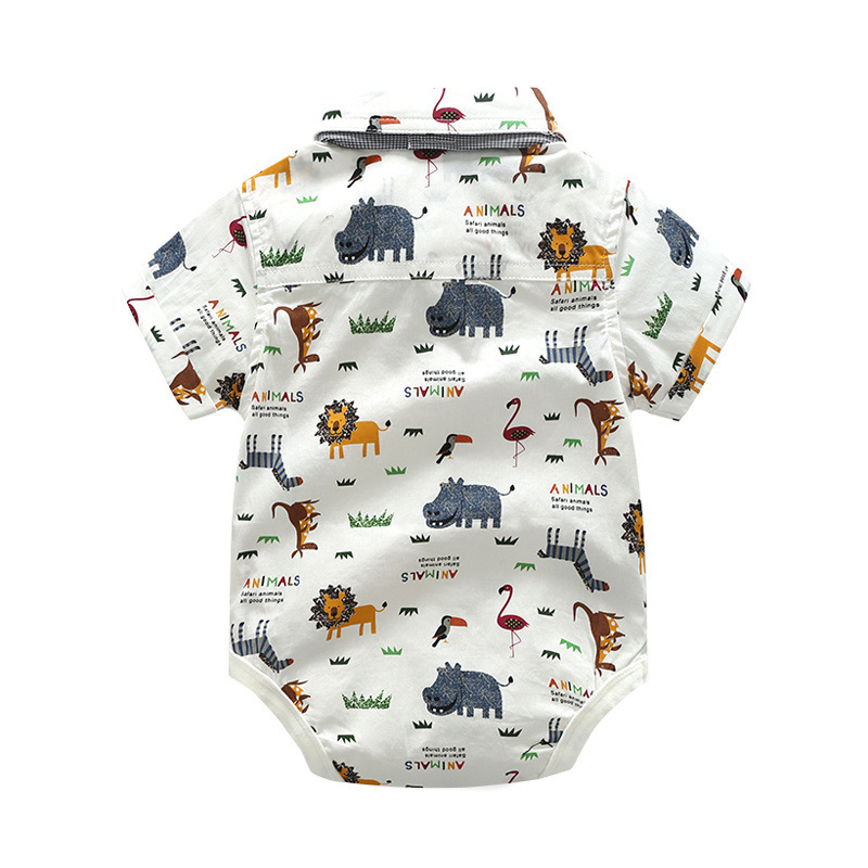 New Born Clothing Baby Boy Girl Animal Short Sleeve T-Shirt Tops+Grey Plaid Short Pants Outfit Casual Outfit Kids Rompers Sets 4