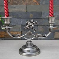 Europe 2arm candle holders Retro angel decorative candle holders ntique candlestick alloy metal candle holder for home ZT166