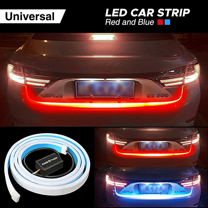 Ice blue/Yellow/Red/White flowing Rear LED Trunk dynamic turn signal light strip flexible Tailgate luggage led warnning light