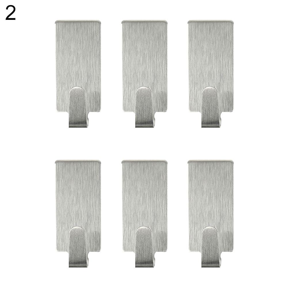 Hot 6Pcs Stainless Steel Self-Adhesive Door Wall Bathroom Kitchen Home Hanger Hook