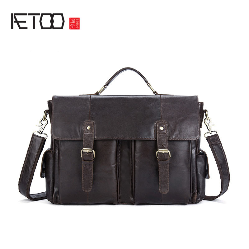 AETOO Leather men's first-class cowhide men's shoulder oblique package clamshell magnetic buckle mail package shanghai chun shu chunz chun leveled kp1000a 1600v convex plate scr thyristors package mail