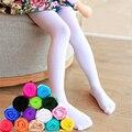 Das crianças da menina do miúdo Verão doce cor sólida veludo Opaco Meia-calça branca suave estiramento leggings De dança de Balé stocking-1