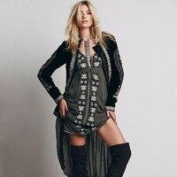 Summer Vintage Ethnic Dress Embroidered Cotton Hippie Dress Asymmetric Boho People Dress Long Bohemian Dress Vestidos Etnico