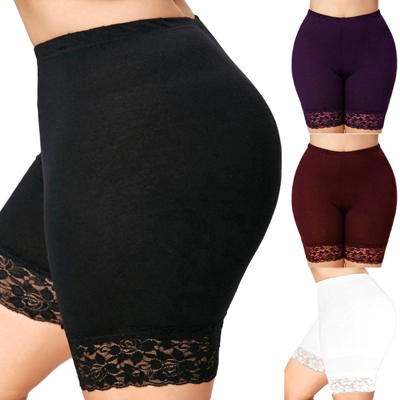 2019 Women Plus Size Mid-Rise Slip Solid Color Floral Lace Trim Mid Thigh Leggings Capri Pants Elastic Slim
