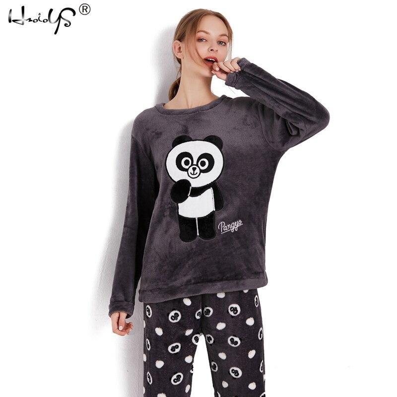 Thick Warm Flannel Pajamas Sets Winter Women Two Piece Pajama Set Cartoon Female Sleepwear Home Clothing Women's Pajamas Suit