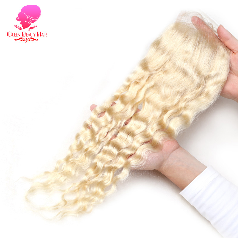 QUEEN BEAUTY 613 Blonde Curly Hair Swiss Lace 4 4 Lace Closure With Baby Hair Free