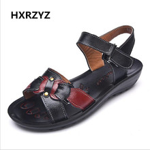 new women s shoes Genuine leather sandals slope with buckle lady fashion casual beach shoes rubber