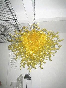Art moderne Design couleur jaune LED à la main en verre soufflé lustre éclairage Chandeliers-LR066 de mariage
