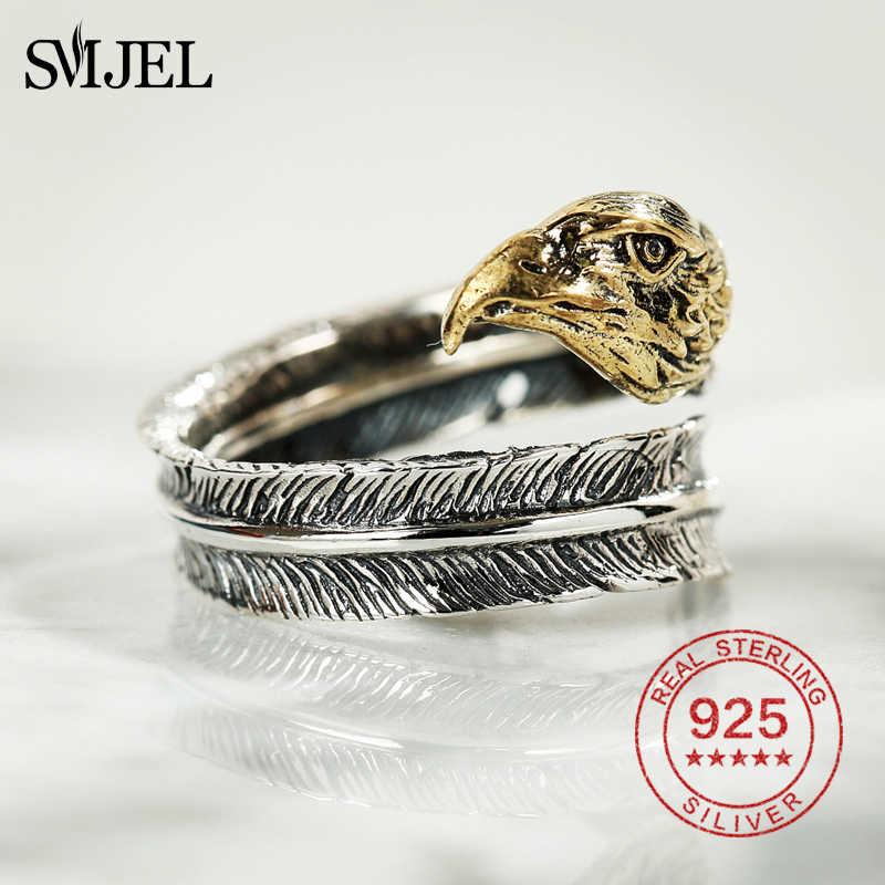 Smjel 925 Sterling Perak Elang Cincin Emas Kepala & Perak Bulu Asli Bulu Cincin Kejuaraan Hip Hop Perhiasan