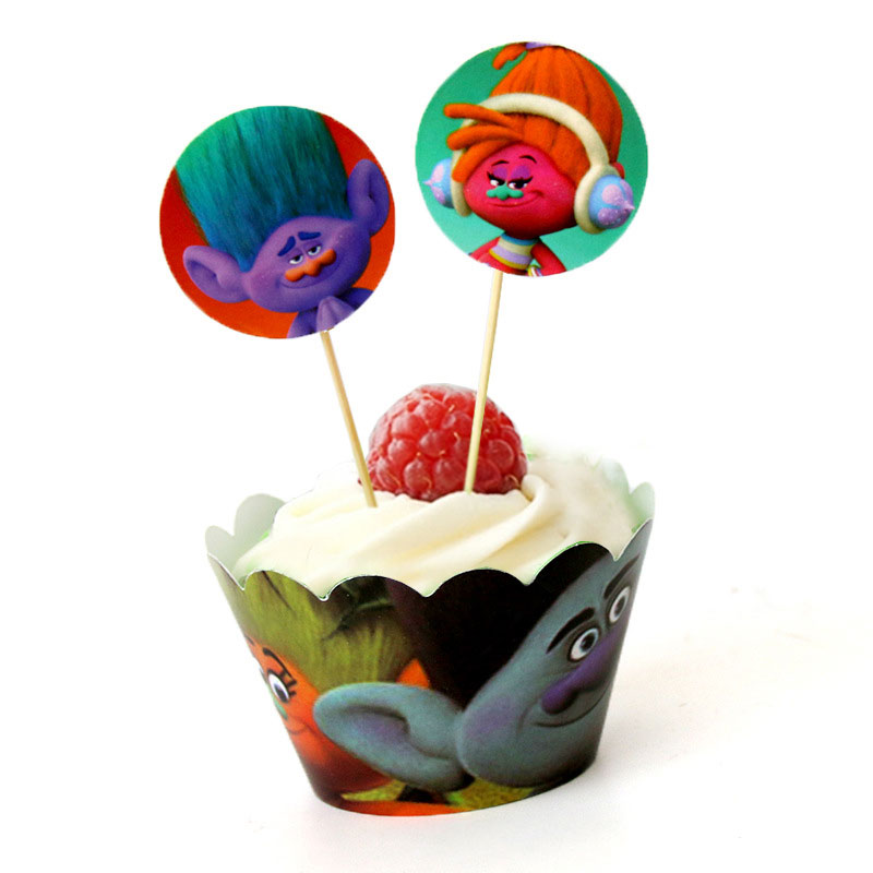 Trolls Cupcake Decorating Set of 12pcs Toppers //Picks And 12pcs Wrappers