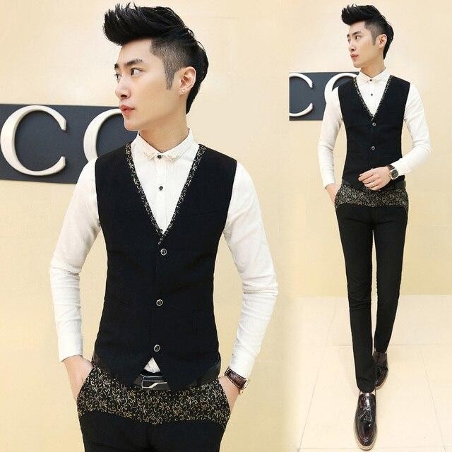 2015 New Korea Dress Design Men Blazer Vest Slim Fit Suits All-match Waistcoat Vests Gold Floral Printed Colete Masculino Black