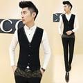 2015 Nova Coreia Do Projeto Homens Blazer Colete Slim Fit Ternos de Vestido de Ouro de Todos Os Jogo Colete Coletes Floral Impresso Colete Masculino Preto