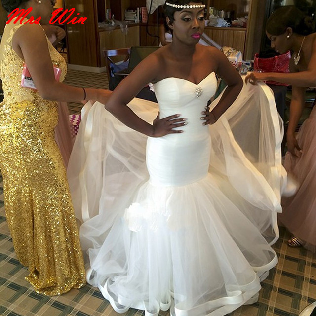 Simple Tulle Sweetheart Cheap Bridal Dresses African Wedding Gowns