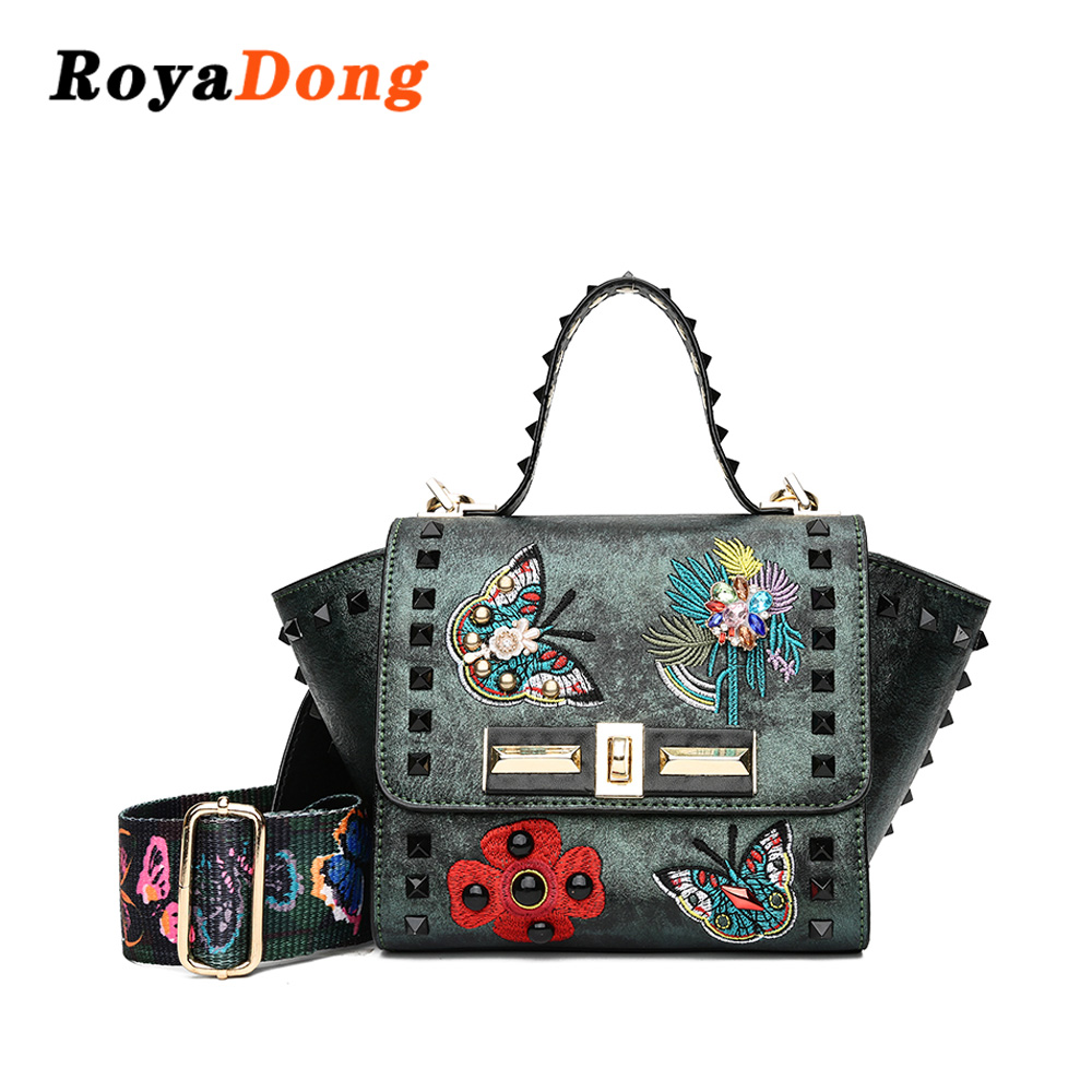 95c060c3f6 RoyaDong 2019 Pu Leather New Brand Rivets Embroidered Ladies Handbags  Women s Pelmeni Shape Design Messenger Bag-in Top-Handle Bags from Luggage    Bags on ...