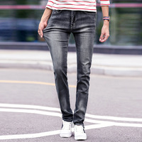 New 2018 Jeans Man Gray Color Men S Straight Pants Casual Long Trousers Slim Fit Classic