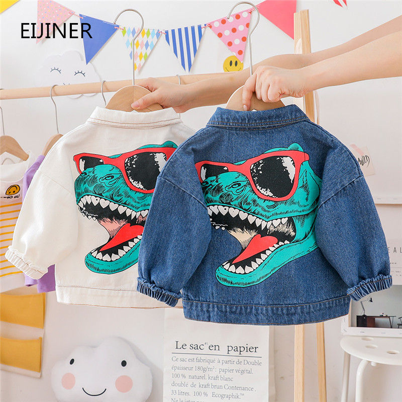 Boys Girls Denim Jackets 2019 Autumn New Kids Boys Girls Coat And Jackets White Blue Cartoon Dinosaur Boys Coat Baby Clothes