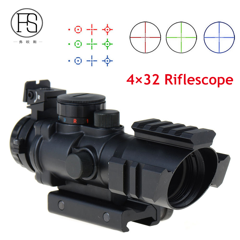 Tactical 4X32 Rifle Scope Fiber Optic Illuminated Scope For 20mm Rail Hunting Shooting Military Red Green Dot Reticle Sight riflescope 4x32 compact scope fiber sight sports for 20mm rail red dot sight hunting