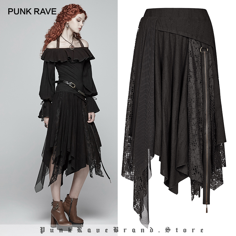 PUNK RAVE New Steampunk Women Lace Half Skirt Gothic Asymmetric Casual beige Black high waisted Skirts Zipper decoration
