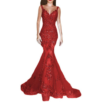 2019 Gorgeous Beading Mermaid Long Prom Dresses Sexy Red V-Neck Backless Prom Gowns Sequined Appliques Evening Party Dresses 3