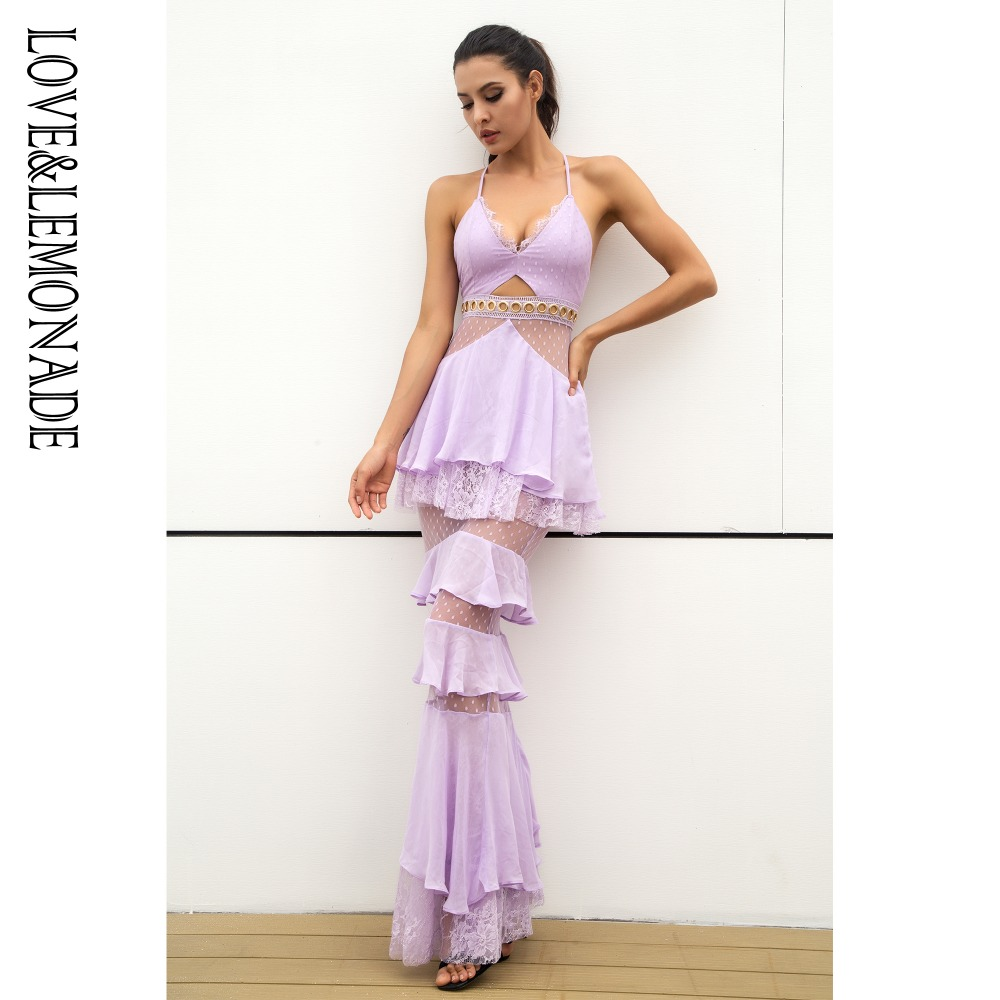 Love&Lemonade  Light Purple  Layered Flounced Chiffon Lace Long Dress  LM0929