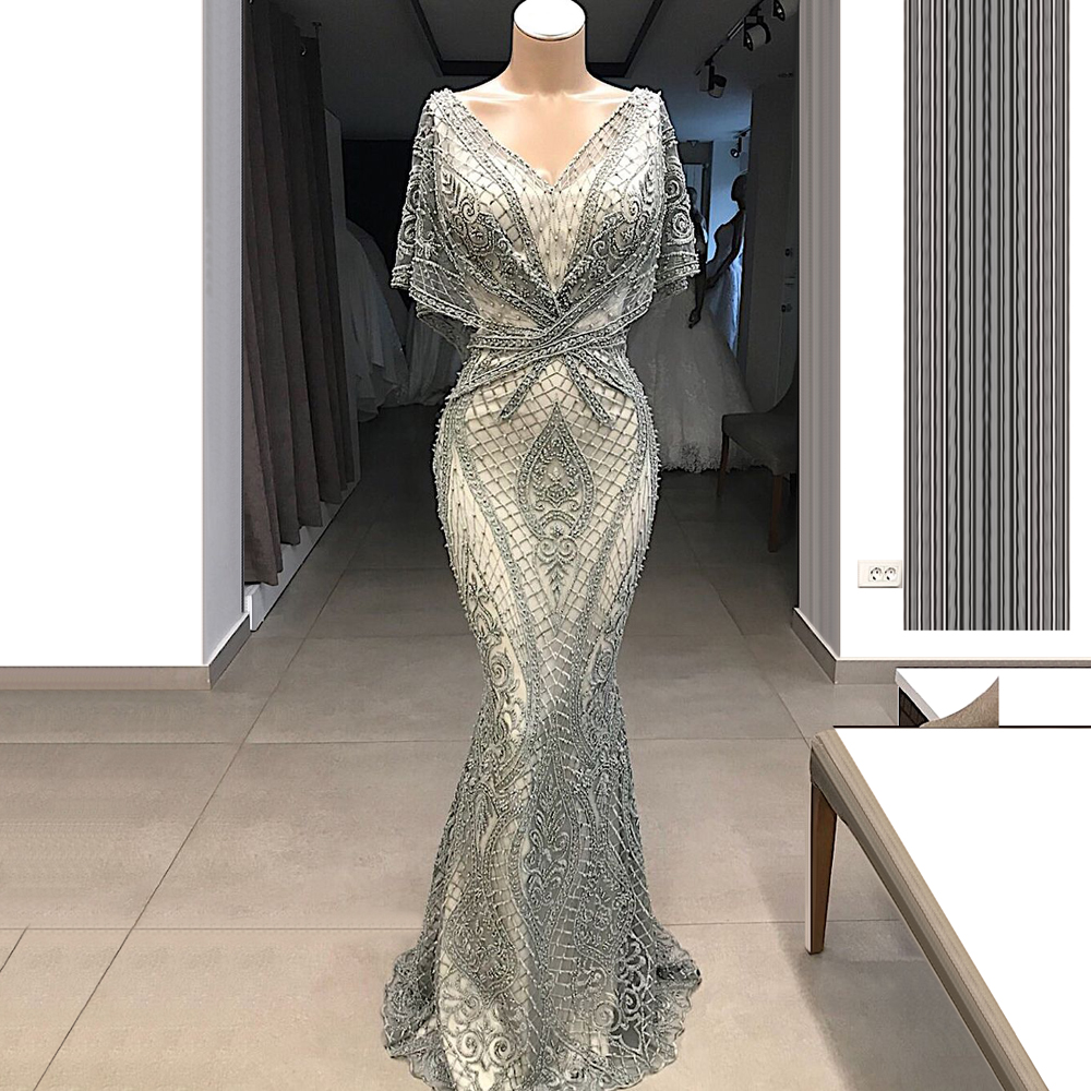 2019 Newest Lace   Bridesmaid     Dresses   With Brads Mermaid V Back Wedding Guest   Dresses   Formal Party Gowns