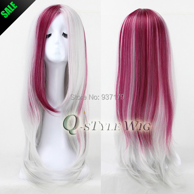 Silver White Highlights Purple Red Color 65cm Natural Straight Hair