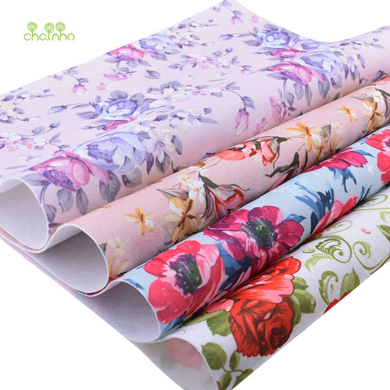 Chainho Floral Soft Felt Fabric,Printed Polyester NonWoven Felt Cloth,For Home Decoration Or Sewing Dolls&Crafts, 4pcs/Lot