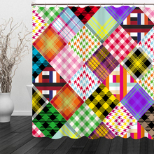 Fashion Colorful Plaid Pattern View Shower Curtains Bathroom Curtain Comfortable Waterproof Thickened Bath