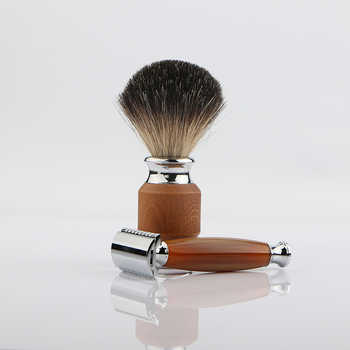 HAWARD Classic Double Edge Safety Razor With 100% Pure Badger Hair Shaving Brush Stainless Stand 1 Set