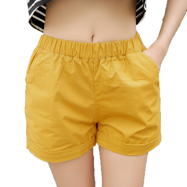 5c40f66d565 Elastic Waist Women Summer Casual Shorts Female Candy Color Shorts Plus Size  XXXL Loose Shorts Ladies Leisure Sportwears