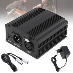 48 v fantasma fonte de alimentação com um cabo de áudio xlr e ac220v adaptador da ue para condensador microfone estúdio música gravação voz